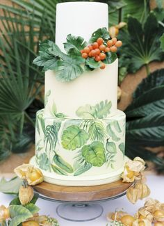 Summer Wedding Cake with Monstera Leaves and Berries
