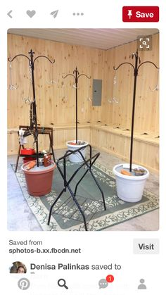 Pots filled with concrete with hangers to hold tack hooks. Good idea for tack room Dream Stables, Dream Barn, Tack Room Organization, Horse Ranch, Horse World, Barn Plans, Horse Barns, The Ranch, Show Horses