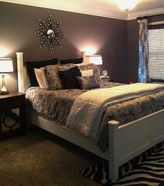 Im weird!! , I love gray, black and white together! I know the walls look purple but they are a dark slate gray. , Bedrooms Design
