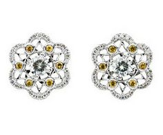 Oo-lala! Diamond & Yellow Sapphire  Moissanite Earrings. Available at Westmount Jewellers. Edmonton, Alberta. Contact: pinterest@westmountjewellers.com