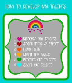 PRINTABLE from SUNSHINEANDMELODY.BLOGSPOT.COM How to develop God given talents.  Activity Days, Young Women, FHE, Family, Personal Developement Primary Activities, Young Women Activities, Group Activities, Activities For Girls, Church Activities, Fhe Lessons, Lds Object Lessons, Lessons For Kids, Activity Day Girls