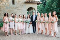 pink bridesmaid dresses - photo by Kylee Yee http://ruffledblog.com/romantic-al-fresco-wedding-in-tuscany