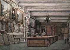 """Der Saal für Druckgraphik (""""Prentenkamer"""") im Trippenhuis, als es als Museum diente, 1838, Zeichnung von Gerrit Lamberts im Stadsarchief Amsterdam http://www.claudoscope.eu/trippenhuis-trippenhaus-amsterdam/#sthash.RiR6hOLo.dpuf"""