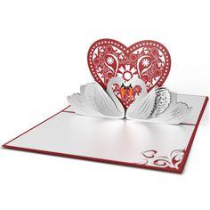 Lovepop Swans Valentine's Day 3D card