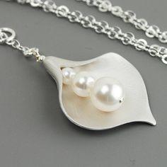 Swarovski Perle Anhänger Halskette  Silber Blume Halskette