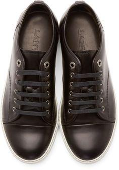 5a0c7ad0cce Lanvin - Black Polished Cap-Toe Sneakers Black Polish