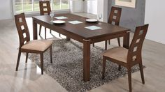 Global D4930DT+D3904DC Diningroom Set - Modern diningroom set. Consist of: wooden table,  4wooden chair with fabric seat.