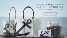sea bags maine.  tote bags, etc, made from re-purposed sails.  cool designs, nautical, some accessories.  want.     lj
