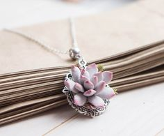 Chain with Succulent Pendant Succulent Necklace от imakeflowers