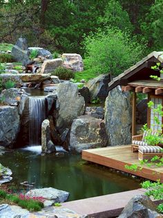 58 Amazing Backyard Waterfall And Pond Landscaping Ideas - Home/Decor/Diy/Design Waterfall Design, Pond Waterfall, Zen Garden Design, Pond Design, Backyard Water Feature, Ponds Backyard, Backyard Waterfalls, Backyard Ideas, Pond Landscaping