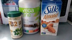 My version of Shakeology with Vega One!  Peanut Butter Cup Protein Shake ingredients: 8 oz. low fat milk ..** I used Silk almond vanilla** 1 tbsp natural peaunt butter ** I used powdered peanut butter** 1 serving chocolate protein powder ** I used Vega One**  shake in your blender bottle an enjoy! :-)