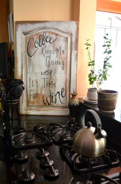 Distressed wood sign Coffee keeps me going until it's time for wine by IDgrad on Etsy