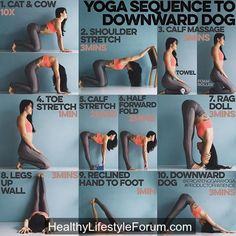 #YOGA SEQUENCE TO #DOWNWARD #DOG  Down dog is a whole body kinda pose. Head to toe everything must be #strong but also #flexible. It took me a long time to get my heels down but if you focus on stretching the back of the legs a lot it will happen!