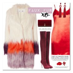 """""""XO FAUX FUR XO DATE"""" by katymill ❤ liked on Polyvore featuring Glamorous, Jimmy Choo, Louise et Cie, Urban Decay, Oscar de la Renta and xO Design"""