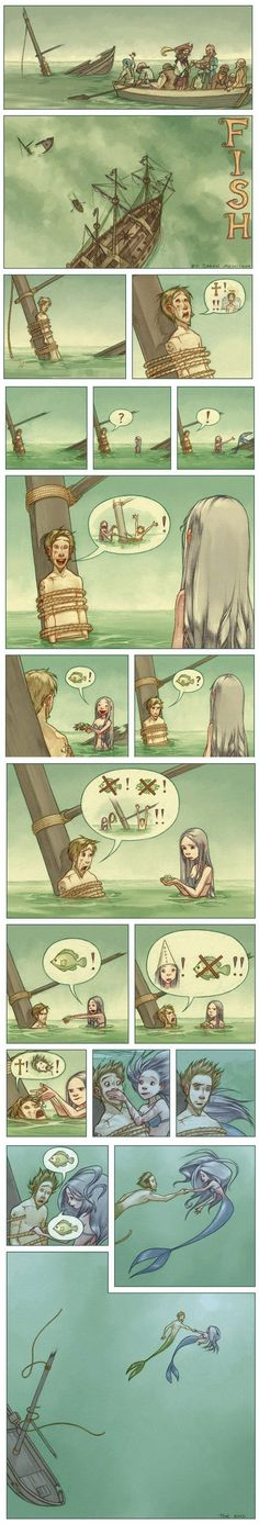 Funny pictures about The mermaid. Oh, and cool pics about The mermaid. Also, The mermaid. Bd Comics, Cute Comics, Manga Comics, Funny Comics, The Meta Picture, Mermaid Tale, Cute Stories, Short Stories, Short Comics