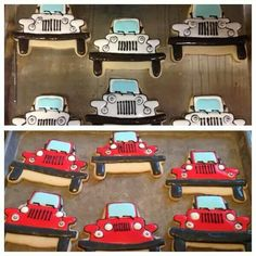 Jeep using 'All Things Jeep' cookie cutters made by Laura Dog Jordan. I love these cookies! Fund Raiser, Car Themes, Cookie Designs, Decorated Cookies, Cookie Decorating, Cookie Cutters, Fundraising, Planes, Trains