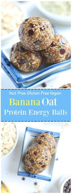Nut Free Banana Oat Protein Energy Balls (gluten free dairy free vegan) Recipe- No bake healthy snack banana oat balls packed with protein, fiber and sweetened with banana. Food Allergy Friendly