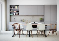 Kitchens without islands Grey kitchen - via Coco Lapine Design