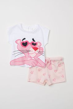 T-shirt and Shorts - Light pink/Pink Panther - Kids Cute Lazy Outfits, Kids Outfits Girls, Girls Fashion Clothes, Teen Fashion Outfits, Cool Outfits, Fashion Kids, Cute Pajama Sets, Cute Pjs, Cute Pajamas