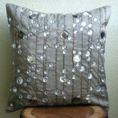 Handmade Decorative Pillow Covers, Throw Pillow Covers Inches Silk Pillow Cover with Crystals and Bead Embroidery - Diamond Strings : . Grey Pillow Covers, Grey Throw Pillows, Toss Pillows, Throw Pillow Cases, Decorative Pillow Covers, Glam Pillows, Accent Pillows, Crystal Embroidery, Sequin Embroidery