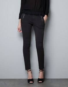 STRETCH TROUSERS WITH ZIPS - Trousers - Woman - ZARA United States