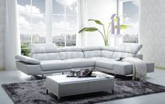 1717 Sectional Sofa with Adjustable Headrest by J&M