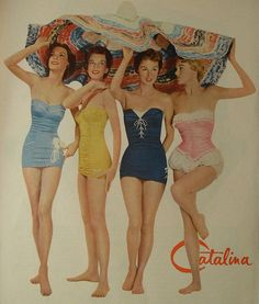 1940s Catalina Swimsuits 1 Piece Women's Bathing Suits Vintage Fashion Advertisement