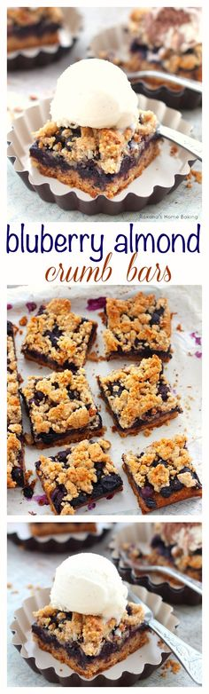 Blueberry almond bars – Buttery cookie almond base topped with a layer of sweet and juicy blueberries and crumbled topping. A great way to enjoy both fruit and nuts in one bite.