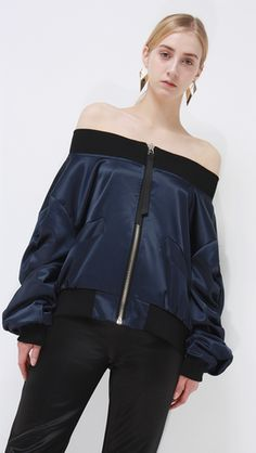 Farrow Off The Shoulder Bomber Jacket in Navy