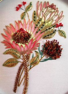 Protea, exquisite! Zardozi Embroidery, Crewel Embroidery Kits, Hand Work Embroidery, Silk Ribbon Embroidery, Hand Embroidery Designs, Embroidery Patterns, Creative Embroidery, Embroidery Supplies, Embroidery Needles