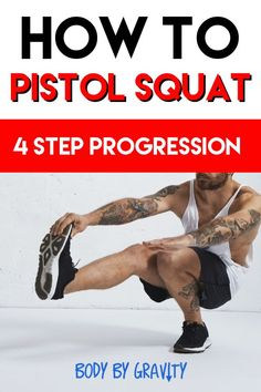, Grow your leg size and strength with these 4 amazing pistol squat progressions. Perfect your squat so you never experience knee discomfort ever again. , How to Pistol Squat: 4 Step Progression Macros, Pistol Squat Progression, Strength Training For Runners, Gain Muscle, Muscle Men, Muscle Fitness, Fitness Tips, Weight Loss Plans, Weight Training