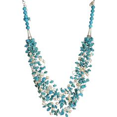 Turquoise(reconstituted) and cultured Freshwater Pearls Necklace