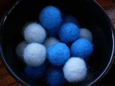 I've Got the Blues Felted Beads  Set of 8 by rainydayyarnshop, $4.00