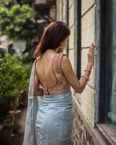 Sassy Deep Back Neck Blouse Designs - The handmade craft Saree Blouse Neck Designs, Fancy Blouse Designs, Saree Blouse Patterns, Lehenga Blouse, Saree Backless, Saree Poses, Stylish Blouse Design, Stylish Sarees, Indian Beauty Saree