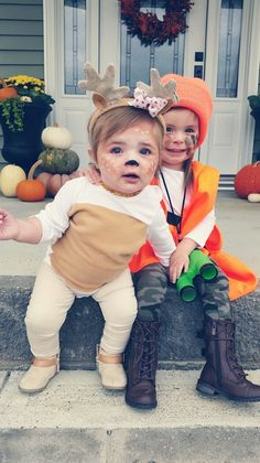 Deer and Hunter Halloween Costume. Always love coordinating my two daughteru0027s costumes!  sc 1 st  Pinterest & Brother sister hunter and deer costume | sibling theme costume ...