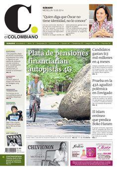 Portada de El Colombiano para el sábado 10 de mayo de 2014