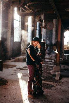 A moody abandoned warehouse is the ultimate place for anniversary photos. Photographer Cassie Rosch perfectly captured the romantic and edgy vibe.