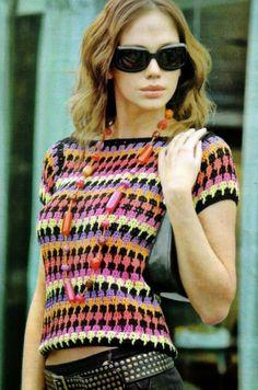 #357 Blusa Multicolor a Crochet o Ganchillo