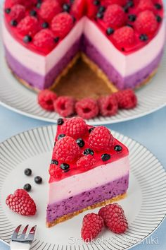 No Bake Blueberry And Raspberry Cheesecake. (in Polish with translator) Polish Desserts, Polish Recipes, Summer Dessert Recipes, Dessert For Dinner, Nutella, Sweet Recipes, Cake Recipes, Cake Cookies, Cupcakes