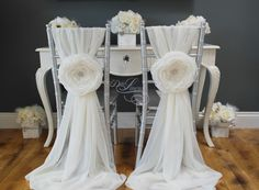 Full set of Large Aurora Fabric Flowers and Sashes - (as seen on the pic) Wedding Event Chair Cover Sashes Sweetheart Table- Made to Order by DelaLinens on Etsy https://www.etsy.com/listing/182076891/full-set-of-large-aurora-fabric-flowers