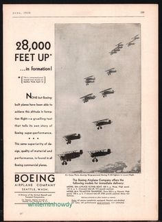 1930 BOEING P-128 Fighter Aircraft Vintage AD Antique Aviation Plane Advertising