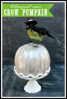 The V Spot: A blinged out Crow Pumpkin