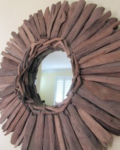 Driftwood mirror tutorial.