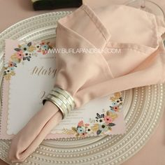 Elegant Blush Napkins for weddings and special events.