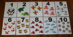 Námořnická výzdoba 1.B - karty s čísly nad tabuli.