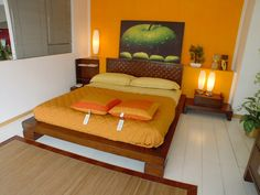 Bedroom Ideas Orange burnt orange accent wall, looks nice against yellow (as well as