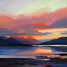 'Soft Sunset, Red Cuillin' by Pam Carter (H019d)