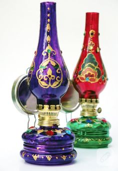 стекло-живопись-газ-светильник-орнамент-фиолетовый и красный