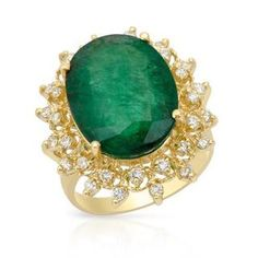 Cocktail Ring with 9.50ct TW Genuine Diamonds and Emerald Crafted in 14K Yellow Gold