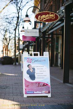 Cynthea's Spa on Church Street, Burlington Vt - Look for our sandwich board on Church Street.